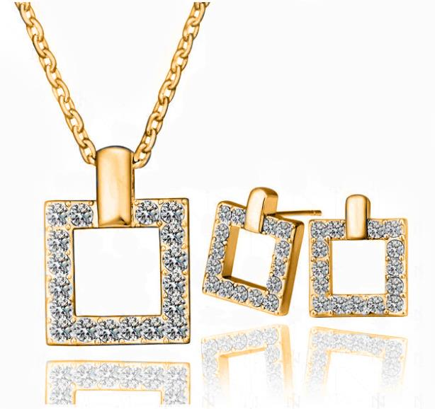 Necklace+Earring, 18K Gold White Plated Square Design Austrian Crystal fashion Jewelry Sets 2014111315 - Better & More store
