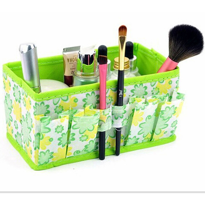 Folding Multifunction Makeup Cosmetic Storage Box Container Case Organizer Multifunction Beauty Flower 7*3.7*4inch cheapest sale(China (Mainland))