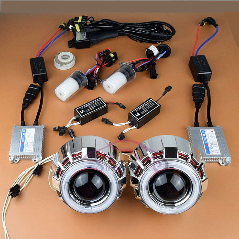 New 2014 Car Styling 35W HID Bixenon Headlight Projector Lens Kit+ Dual Angel Eyes+ Ballasts+ Xenon Lamp+ Wiring,Fits For H4 H7