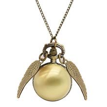 Fashion Harry Potter Pocket Watch Necklace Quidditch Quartz Digital Pendant Watch Chain Steampunk Wings Clock