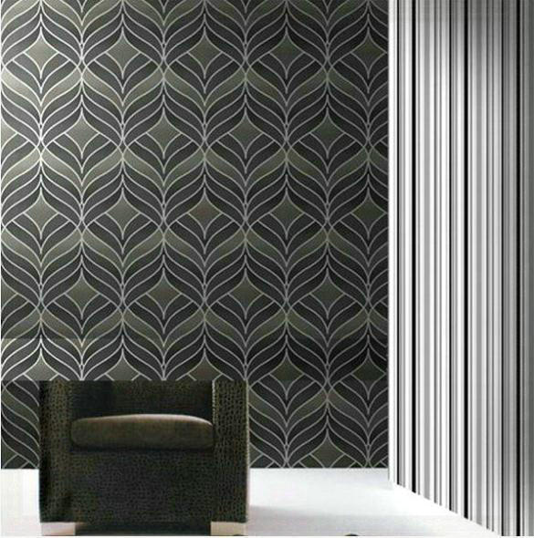 Dining room wallpaper grey silver textured background wall for Grey silver wallpaper living room