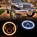 Pair of 7 Inch Round Black Housing light 7 LED Headlights Halo Angle Eyes withTurn Signal