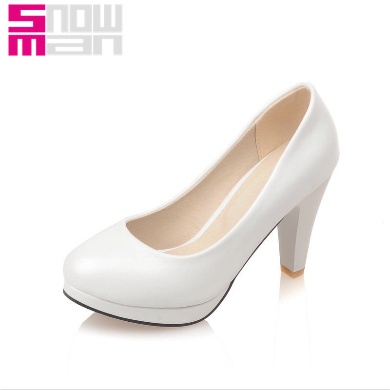 New Solid Women Pumps Elegant Sexy Shallow Pumps Spike High Heels Party Shoes Spring Summer Platform Shoes Woman Big Size 32-48<br><br>Aliexpress