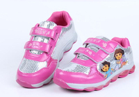 New 2014 spring children dora the explore casual sports sneakers with light flasher brand baby girls flat skate boarding shoes