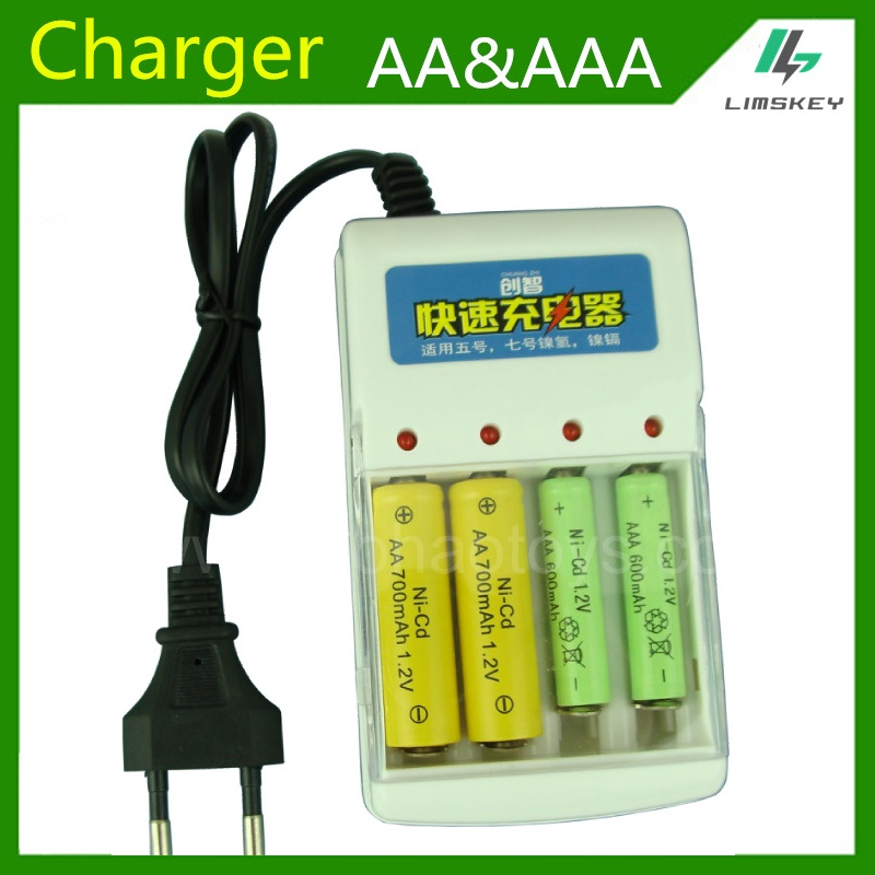 1.2v AA & AAA Battery Charger Battery four slot AA and AAA NiCd and Ni MH battery Charging Seat 220V 50/60HZ AC Input(China (Mainland))
