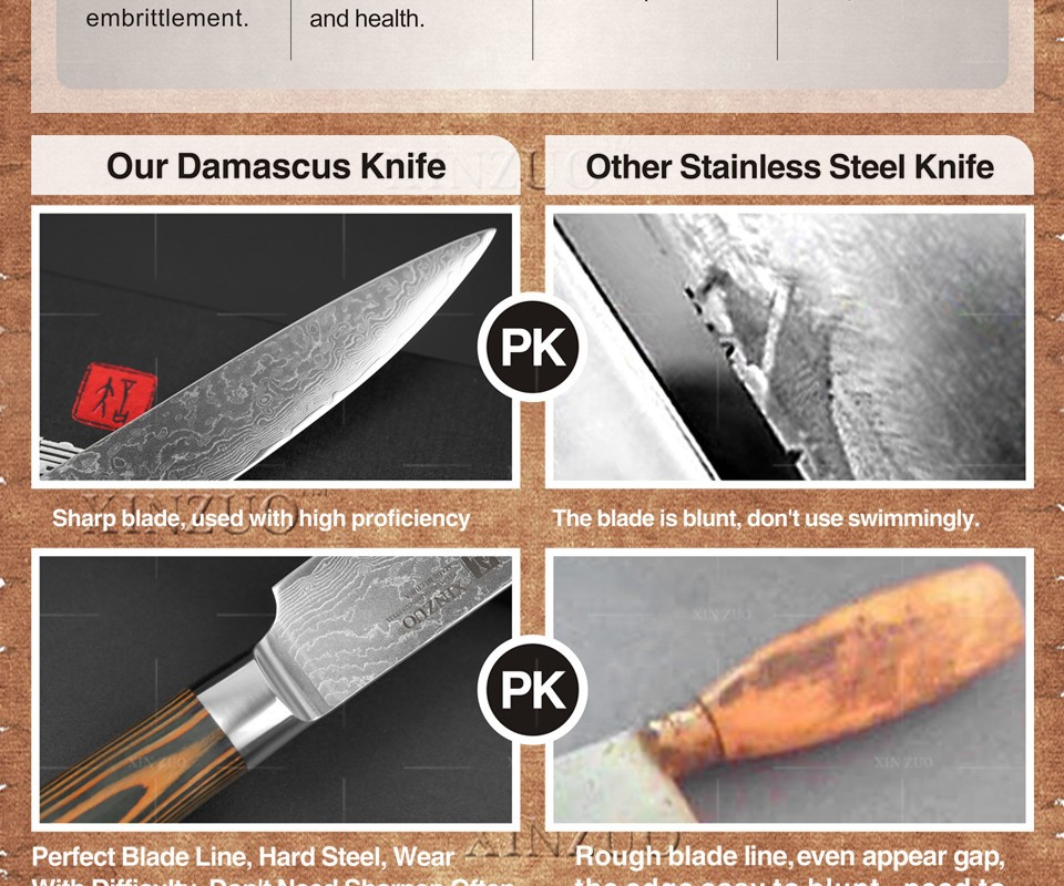 """Buy XINZUO HIGH QUALITY 8"""" Inch Japanese VG10 Damascus steel kitchen knives chef knives cleaver knife with wood handle free shipping cheap"""