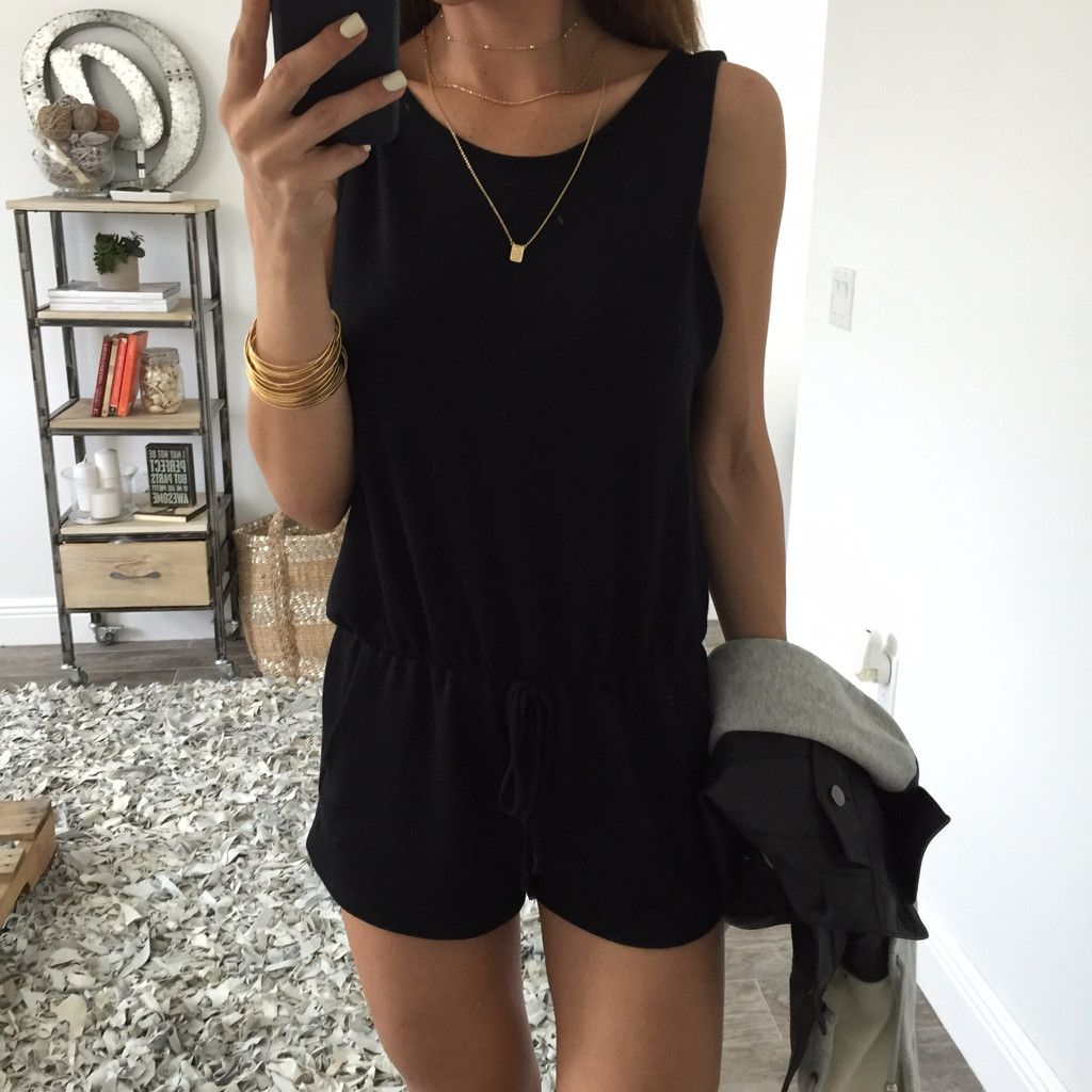 Women Solid Backless Fashion Crewneck Sleeveless Slim Fit Sheathy Catsuit Short Bodysuit Jumpsuits Rompers(China (Mainland))