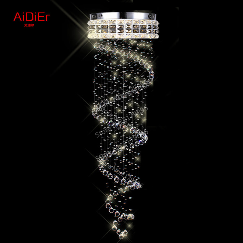 Contemporary chandelier crystal lighting penthouse stairwell hanging wire crystal lamp villa spiral staircase Dia500xH1800mm(China (Mainland))