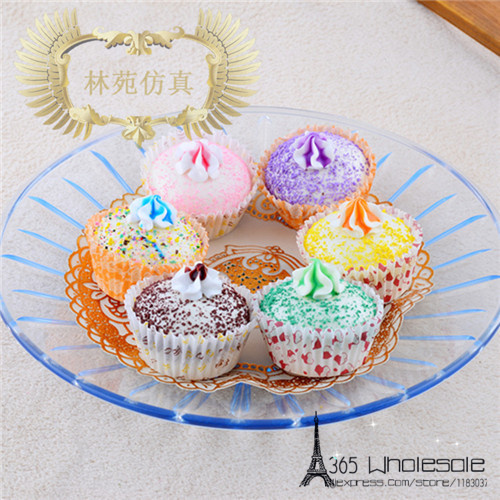 Free shipping 6pcs/lot Squishy Cupcake Artificial Foods toys 5cm fake simulated foods home office bread shop decoration gifts(China (Mainland))