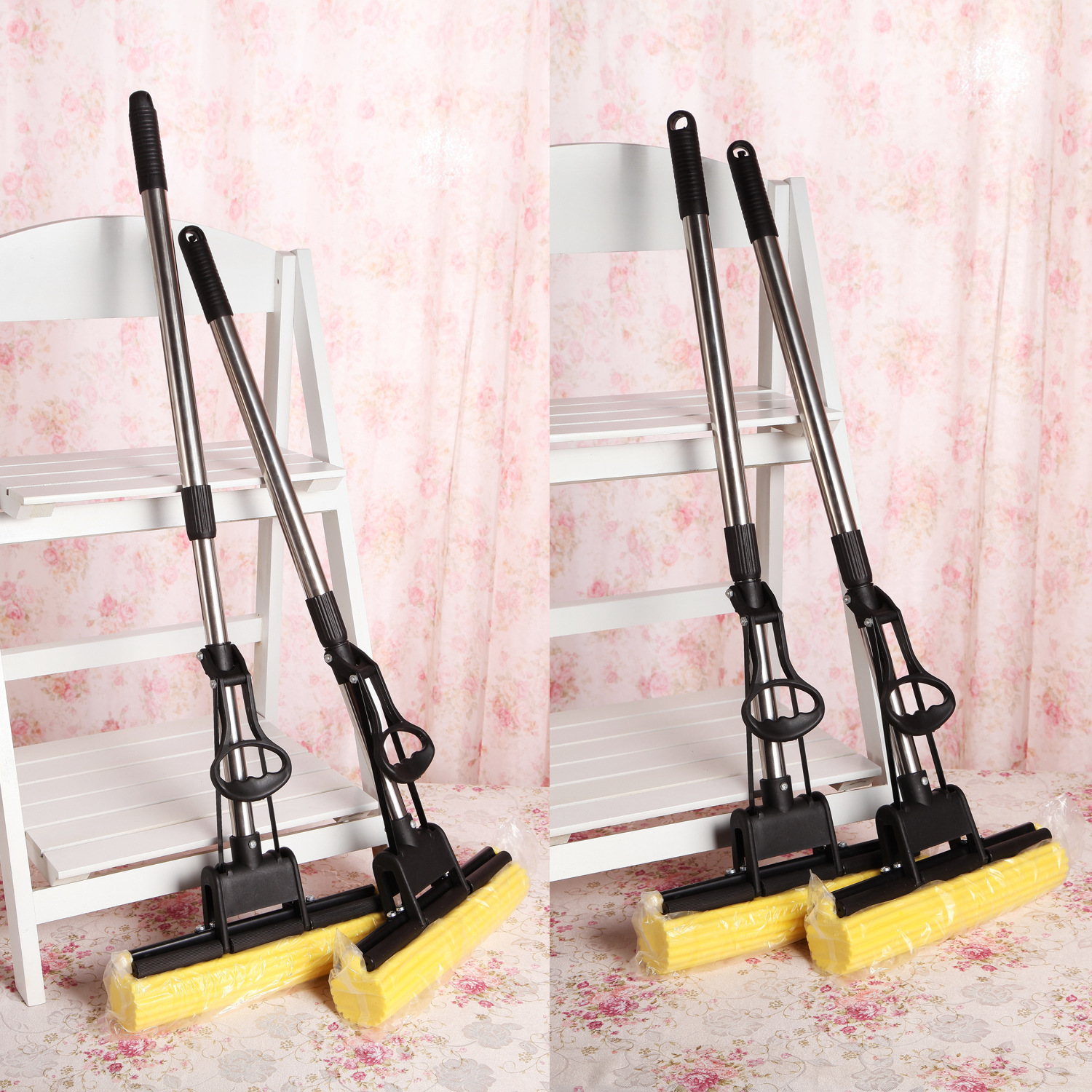 House Scenery Living Home Clean Tools Mop Rollers Squeeze Mop Water Sponge Mop Stainless Steel Telescopic Long Round Rectangle(China (Mainland))