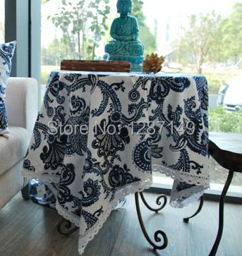 100% cotton table cloth thicken wearable durable cushion 70cm 140cm blue and white porcelain cloth table cloth(China (Mainland))