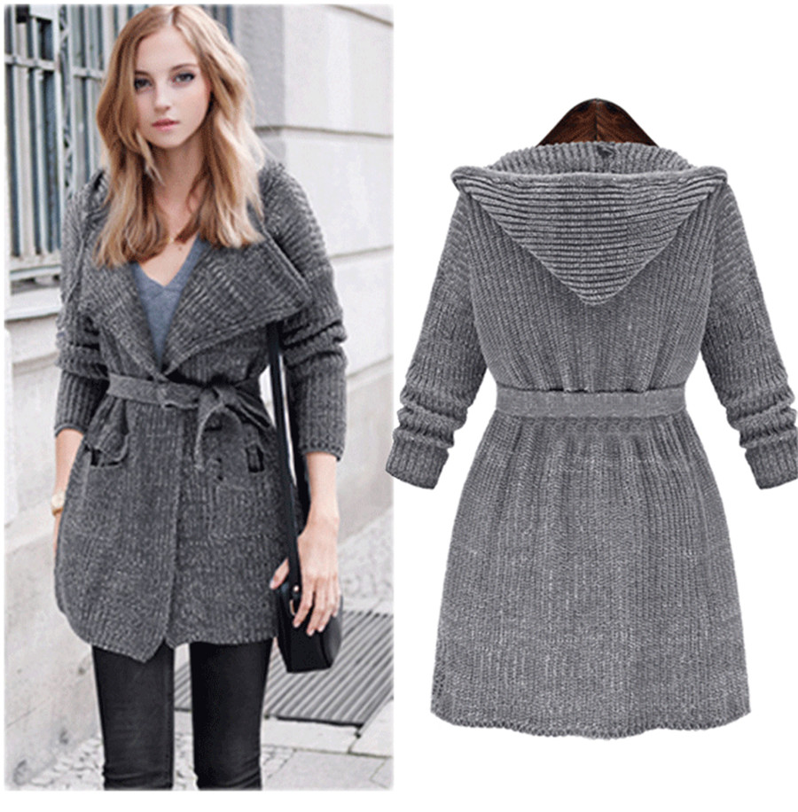 One Size Open Stitch Belt Long Sweater Hooded Long Sleeve Hand Knitted Cardigans Coarse Wool Brand Sweaters Fashion Outwears(China (Mainland))