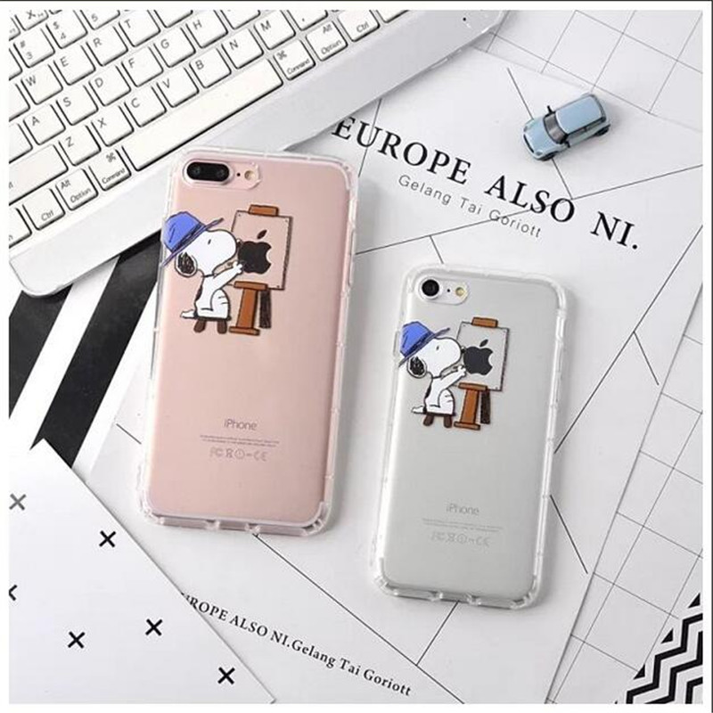 Case For iPhone 6 6splus 7 7plus lovely snoopies 3D relief Air cushion TPU back cover Phone case+++++++++++++gift(China (Mainland))