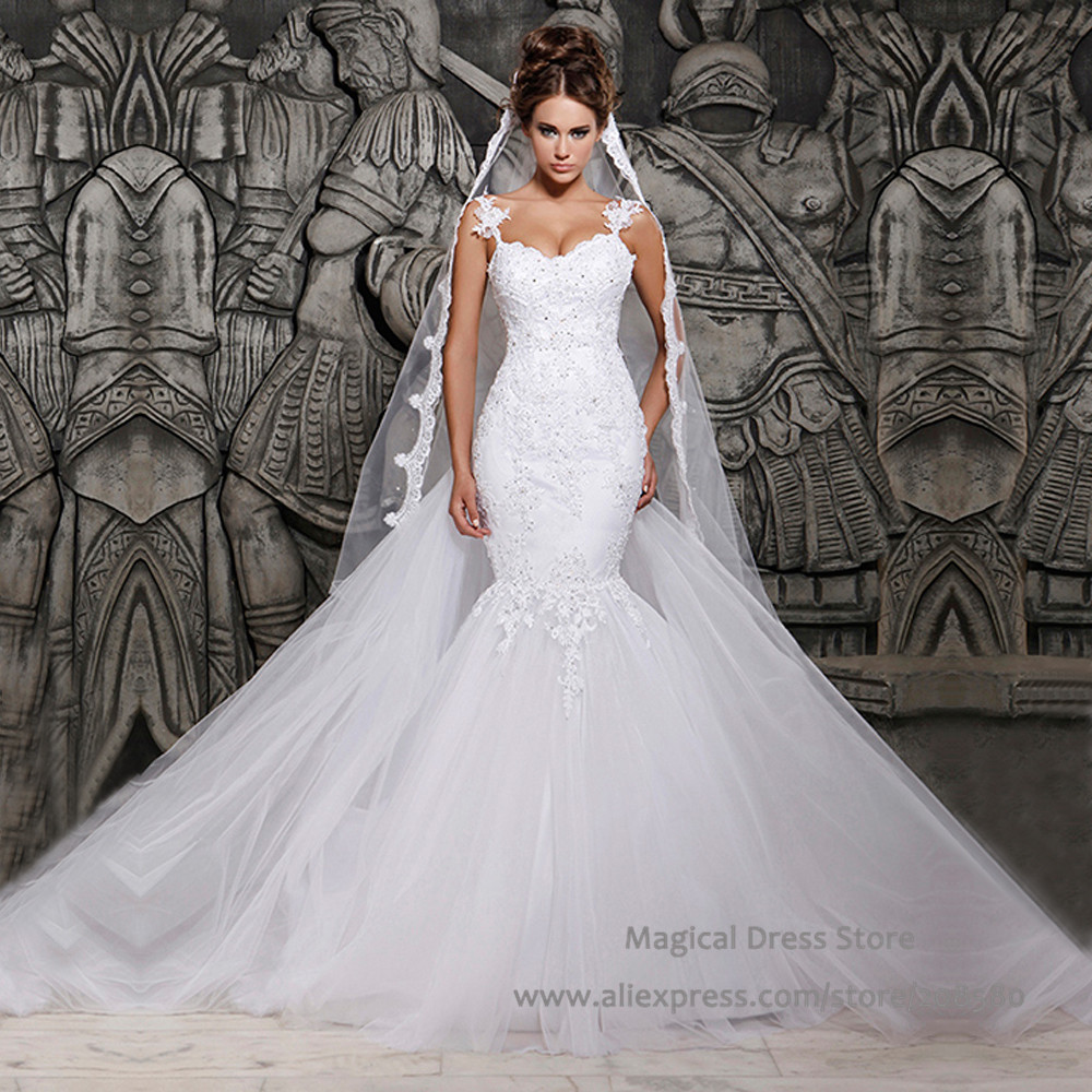 Buy 2016 sexy backless mermaid detachable for Detachable train wedding dress