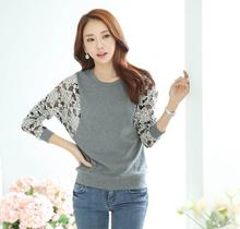 2015 New Design Blusas Women's TShirts Long Sleeve Round Neck Women Tops Embroidery Floral Lace Crochet T-Shirts (China (Mainland))
