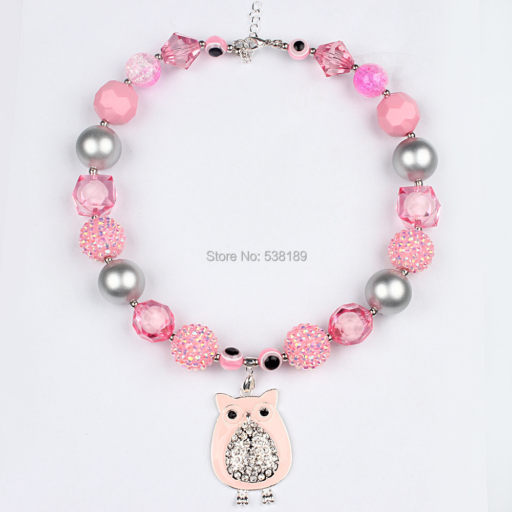pink owl pendant children colorful