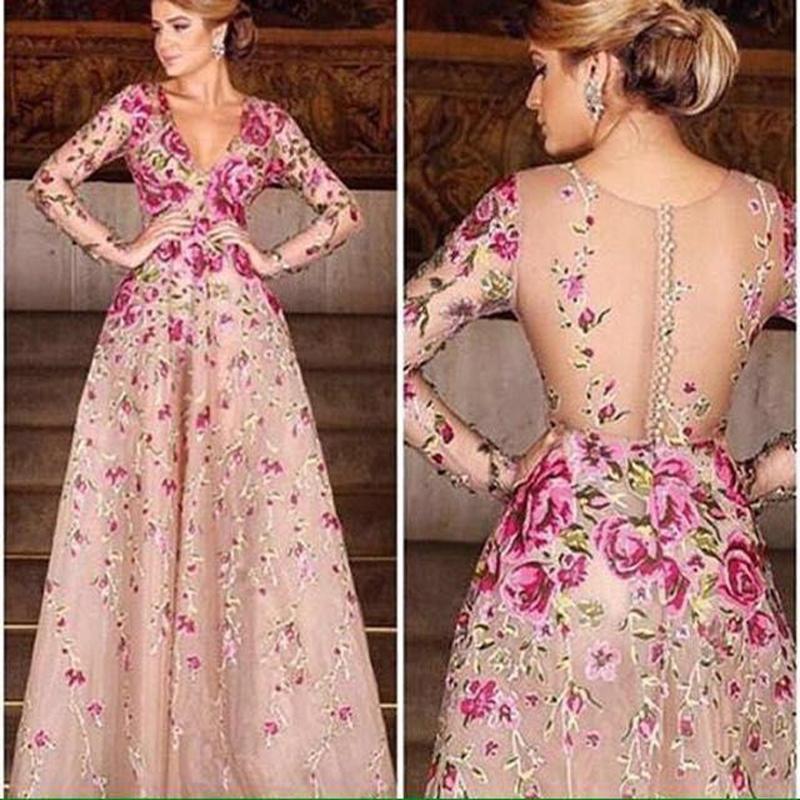 New design long evening dress 2016 elegant appliques for New farnichar design 2016