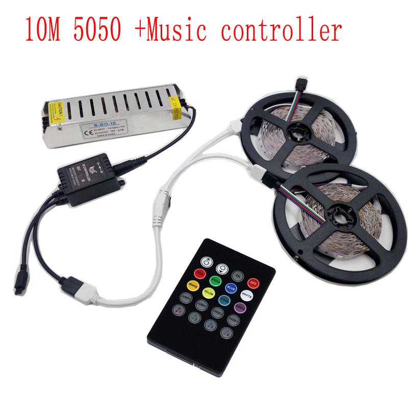 10M SMD 5050 300Leds RGB LED Strip and IR Music Remote Control and 12V Power Supply 30Leds/m(China (Mainland))
