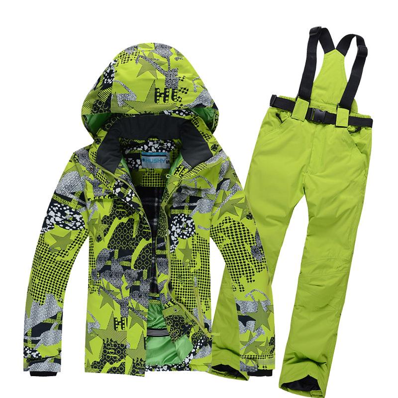 Free shipping 2015 new arrival womens colorful geometric drawing figure ski jacket +pants ski suit snowboard Windproof wears(China (Mainland))