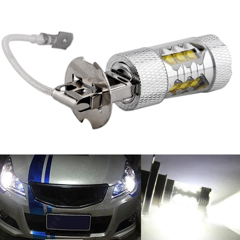 1pc High Power H3 LED Car Light 80W LED Super Bright White Fog Tail Turn DRL Head Car Light Daytime Running Lamp Bulb 12V&(China (Mainland))