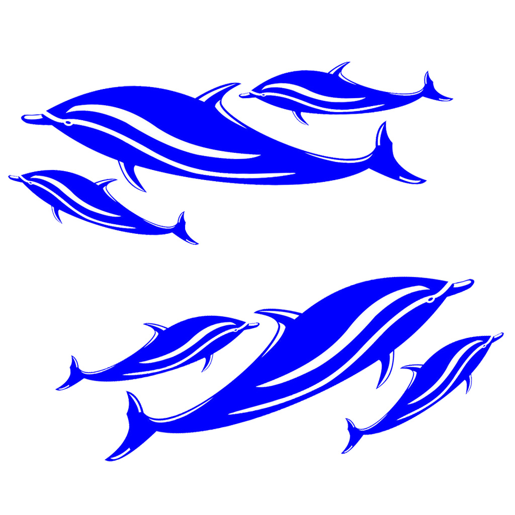 New 2 Pcs / 6 Blue Dolphin Decals Stickers Kayak Canoe Fishing Boat Surfboard Car Wall Surf Ski Graphics Accessories