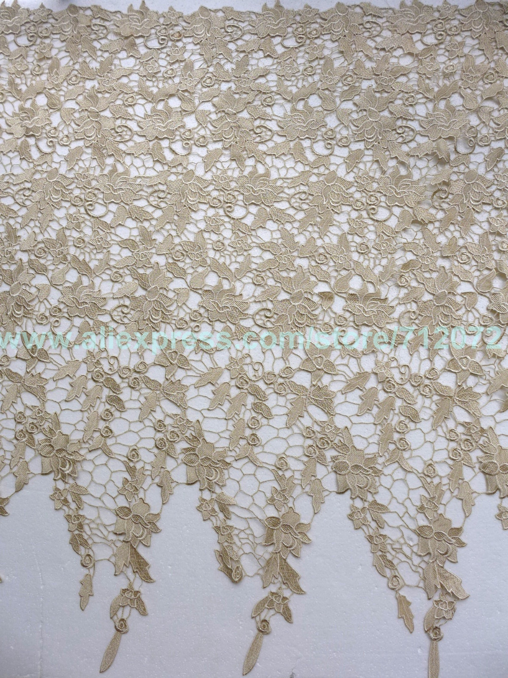 Buy new 39 39 39 beige polyester embroidered for Wedding dress lace fabric