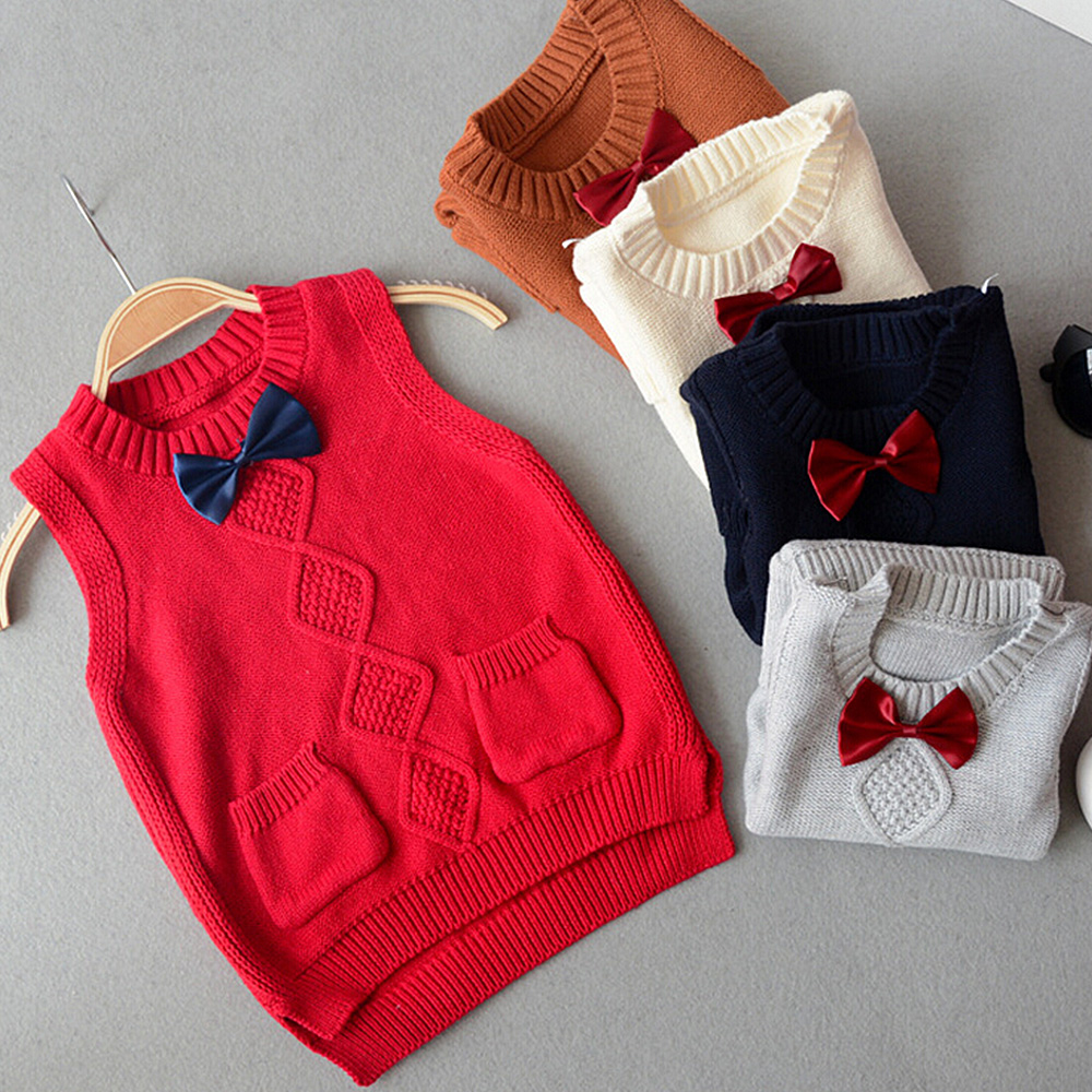 New 2016 Spring autumn 100% cotton baby cardigan boy's O-neck sweater vest kids waistcoat vest girls boys sweaters Bow Tie(China (Mainland))
