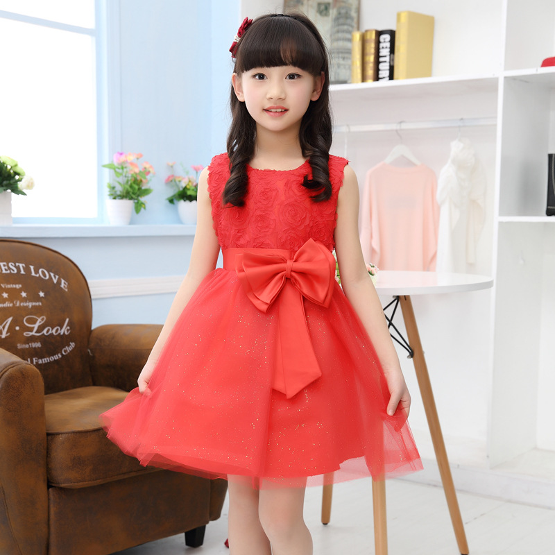 Flower Girl 2016 New Summer High Quality Bow Party Princess Dress Girls White Red Mesh Tutu Costume Dresses Kids Clothes 120-D(China (Mainland))