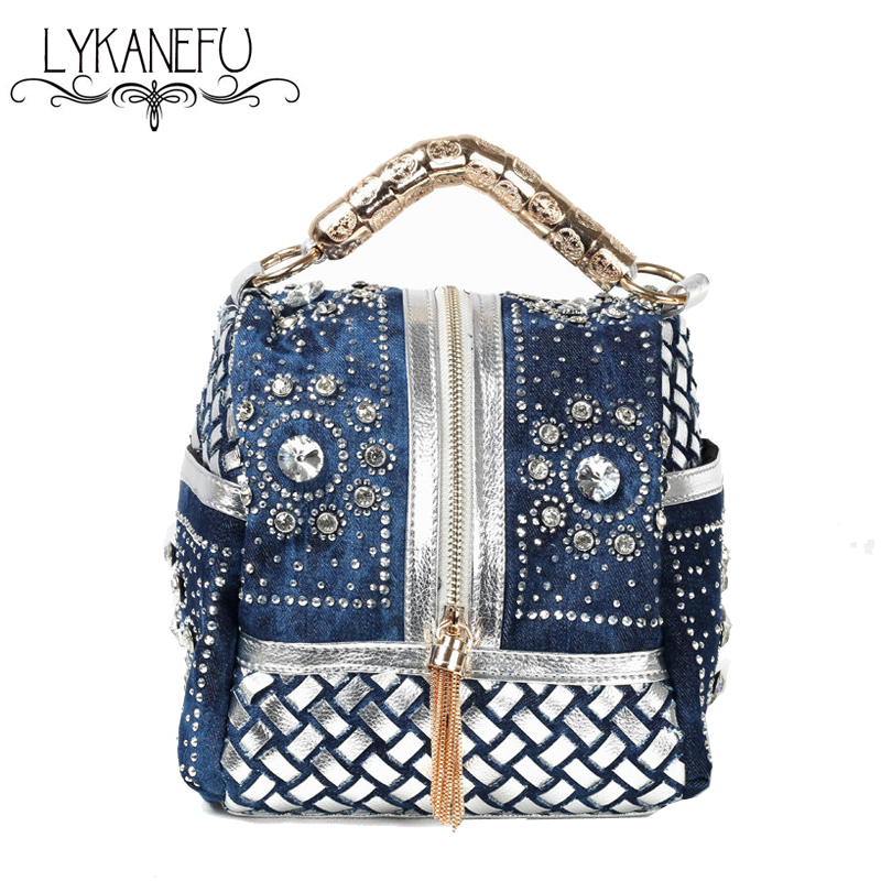denim diamond luxury handbags women bags designer tote shoulder bag