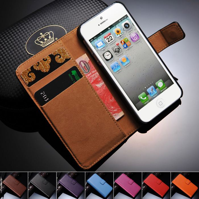 5 5S SE Genuine Leather Wallet Stand Case iPhone Phone Bag Card Holder Flip Cover Coque iPhone5 - artisome Official Store store