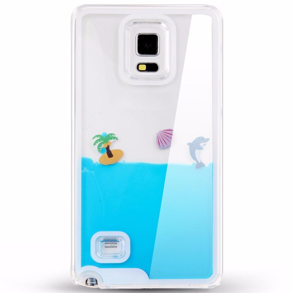3D Ocean Aquarium Case, Creative Design Flowing Liquid Dolphins Shell Coconut Trees Hard Case for Samsung Galaxy Note 4(China (Mainland))