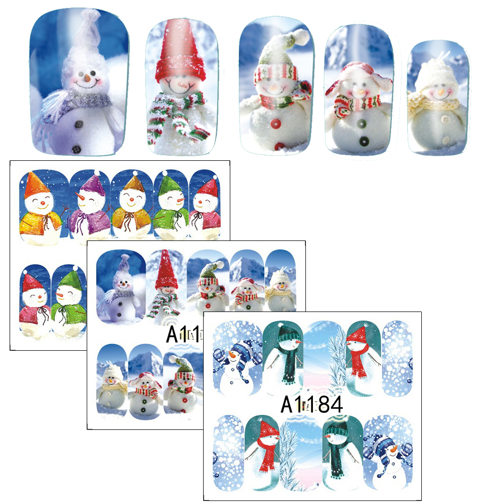 1pcs 2017 Xmas Design Nail Stickers Snow Man Water Transfer Nails Art Foils Manicure Wrap Finger Nail Decal New Year A1177-1188(China (Mainland))