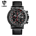 LIEBIG Men Quartz Wristwatches Red Fashion Military Sports Watches Leather Strap Timing Waterproof Relogio Masculino ZHG161015