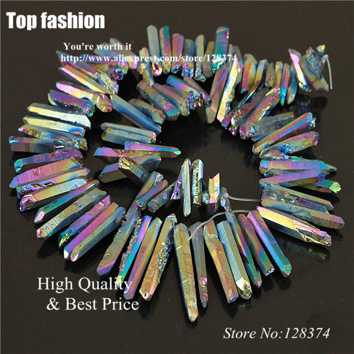 J-091 Titanium Crystal Rainbow Quartz Rough Point Drilled Briolettes Beads 19-30mm 16 inch, Druzy Natural Agate Stone pendant(China (Mainland))