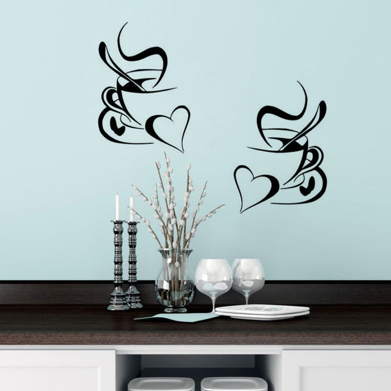 Kohls Coffee Wall Decor : Kitchen wall sticker coffee pcs cup with heart