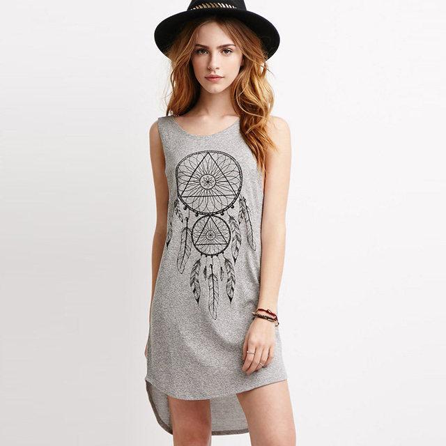 Мода Плюс Размер XS-XXL Cool Сарафан 2016 Лето Стиль Женщины футболка Платье Повязки Bodycon Пляж Платье Тотем Печать