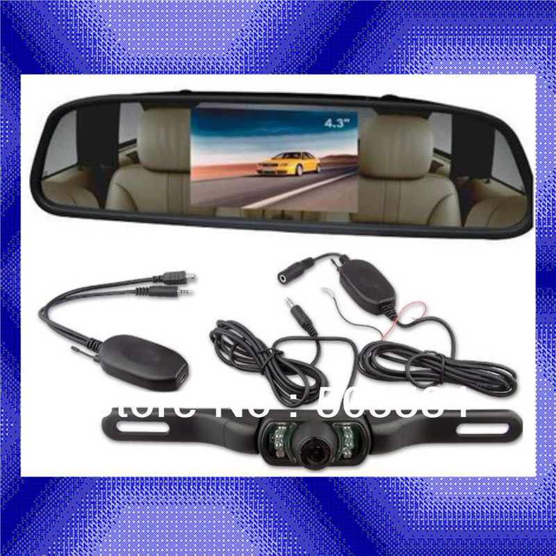 4.3 inch Car Rearview Mirror Monitor with Camera kits for Vehicle Truck Wireless Rear Reversing Parking backup IR Night vision(China (Mainland))