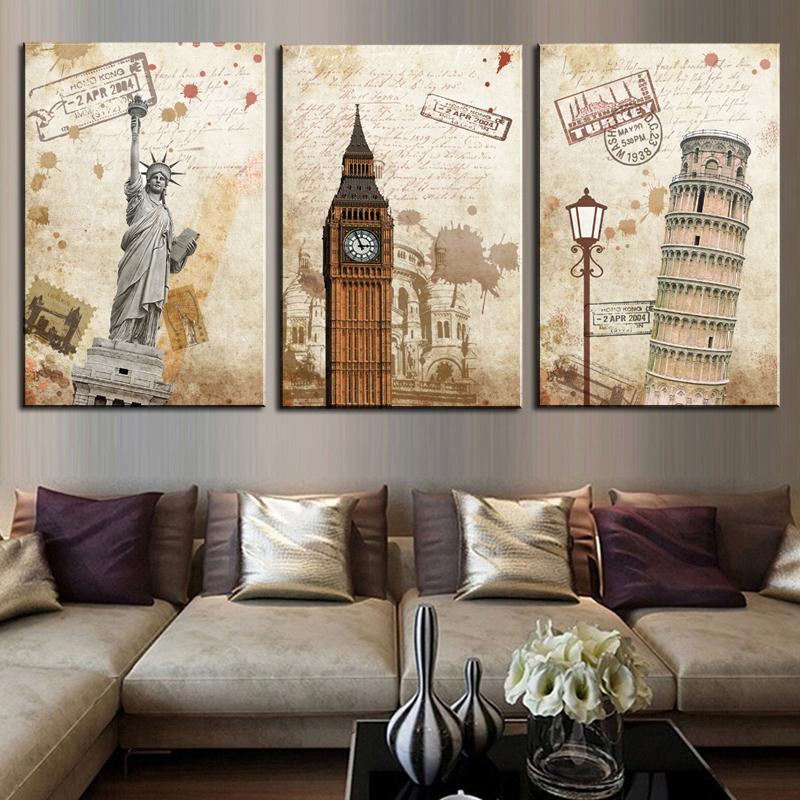3 pieces the city landscape hd modern wall art home decor