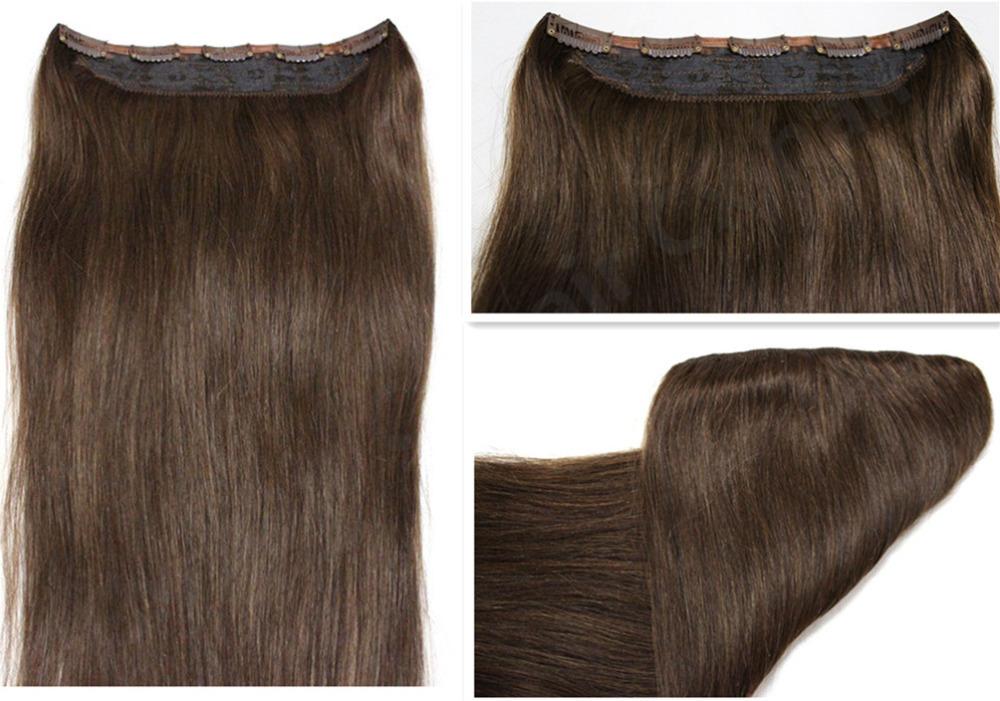 #4 medium brwon 100g Full Head 1pcs full head set Brazilian Virgin remy human hair extensions clips in/on hair extensions()