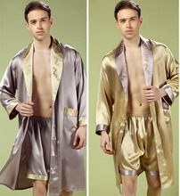 Special New 2015 Silk satin sleepwear male sexy shorts Spa bath robes 100% mulberry silk tracksuit pajama sets dressing gown men(China (Mainland))