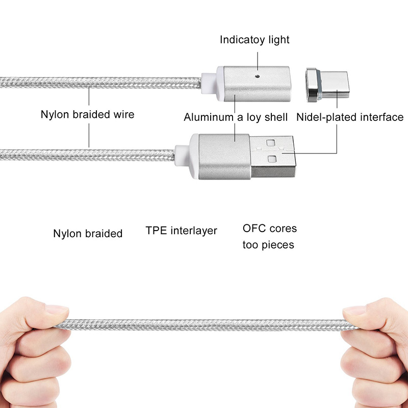 Braided Magnetic Cable USB Type C Magnetic Adapter USB 3.1 Type-C Magnetical Charge for HUAWei P9 for OnePlus 2 /3 for Xiaomi 5