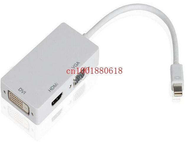 Free Shipping 3 in 1 Thunderbolt Mini Display Port to HDMI VGA DVI 24+5 HDTV Adapter cable for Mac Book iMac Air Pro,50pcs/lot(China (Mainland))
