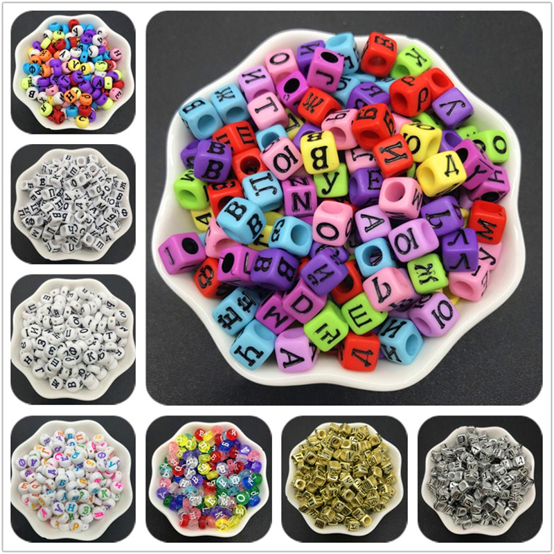 100 un varios separadores Cuadrado 6 MM letra del alfabeto granos de acrílico mezclado