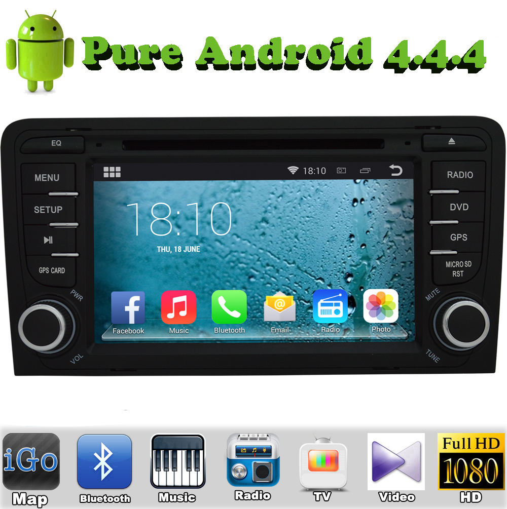 Pure Android 4.4.4 Car DVD GPS For AUDI A3 2003-2011 With HD Capacitive Touch screen 1.6G CPU Dual Core 1G RAM DDR3 Stereo(China (Mainland))