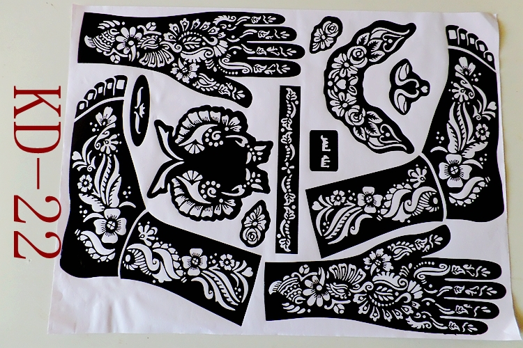 picture relating to Printable Henna Stencils named 1laptop KD22 Tattoo Templates palms/toes henna tattoo stencils