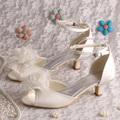 Wedopus Top Sale High Quality Satin Ivory Big Rose Flower Wedding Shoes Low Heel