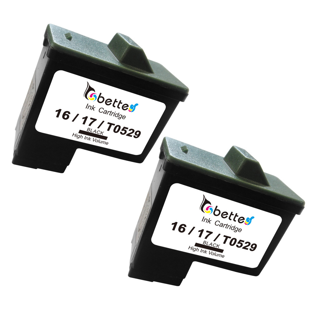 2PK, Black Ink Cartridge for Dell T0529 for Lexmark 16 17 10N0016 10N0017 for Dell A720 A920 All in One Printers(China (Mainland))