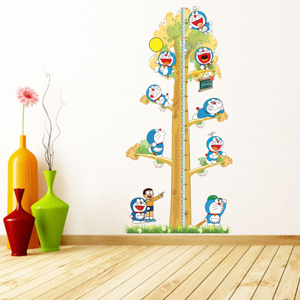 2pcs doraemon creative diy kids height chart wall stickers for Baby room decoration wallpaper