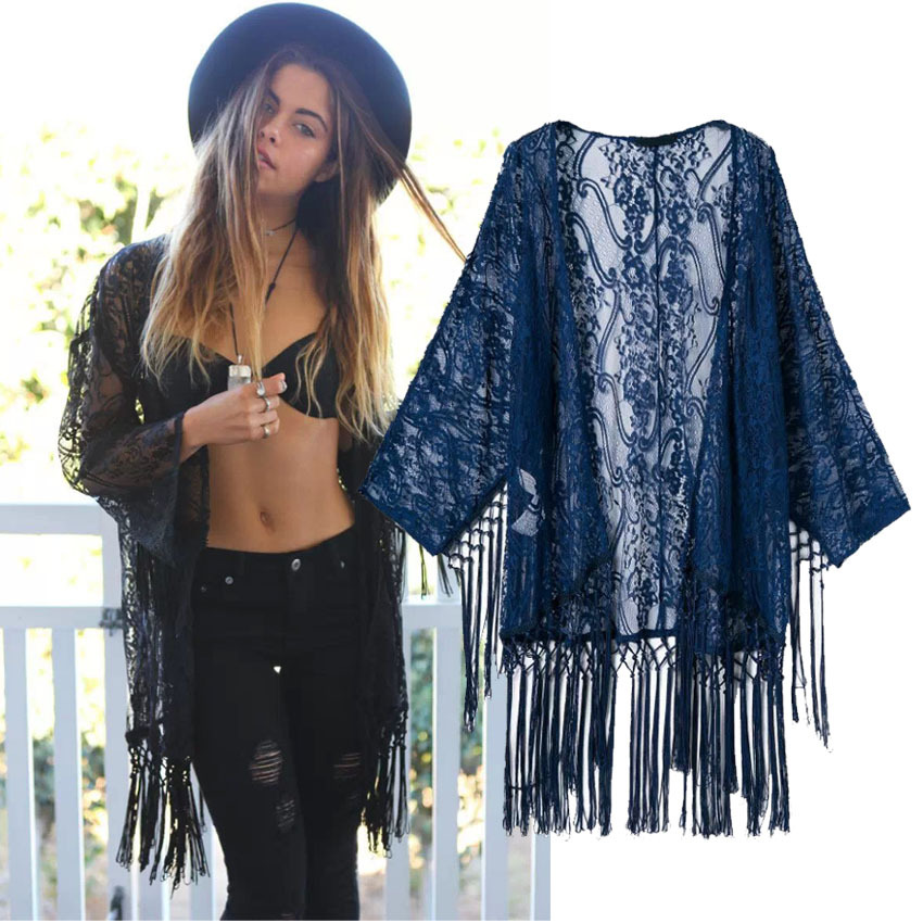 2015 Women's Blue Lace Crochet Embroidered Loose Kimono Cardigan Tassels Long Sleeve Shirts Button Blouses Tops - Sexy Woman Line store