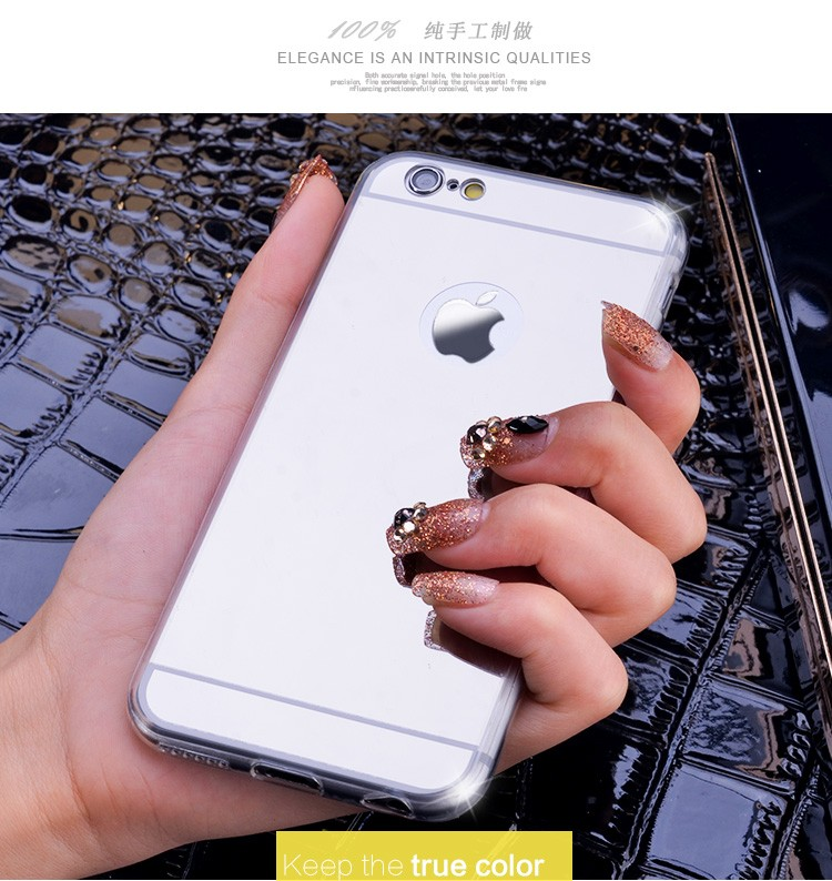 Rose Gold Luxury Bling Mirror Case For Iphone 6 6S 7 / Plus 5 5s SE Clear TPU Edge Ultra Slim Flexible Soft Cover For Iphone6 6S